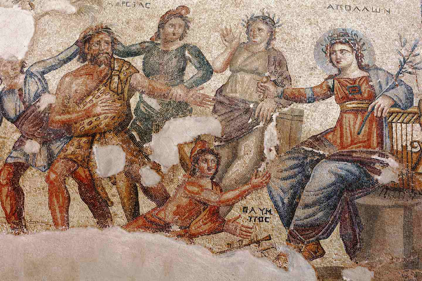 Chipre - Ancient mosaic in Kato Pafos Archaeological Park, Paphos, Cyprus