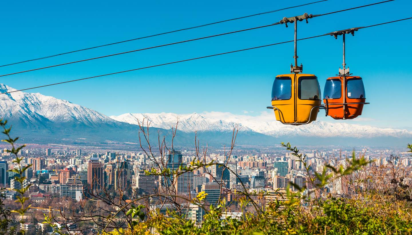 Santiago de Chile - Cable car in San Cristobal hill, Santiago de Chile
