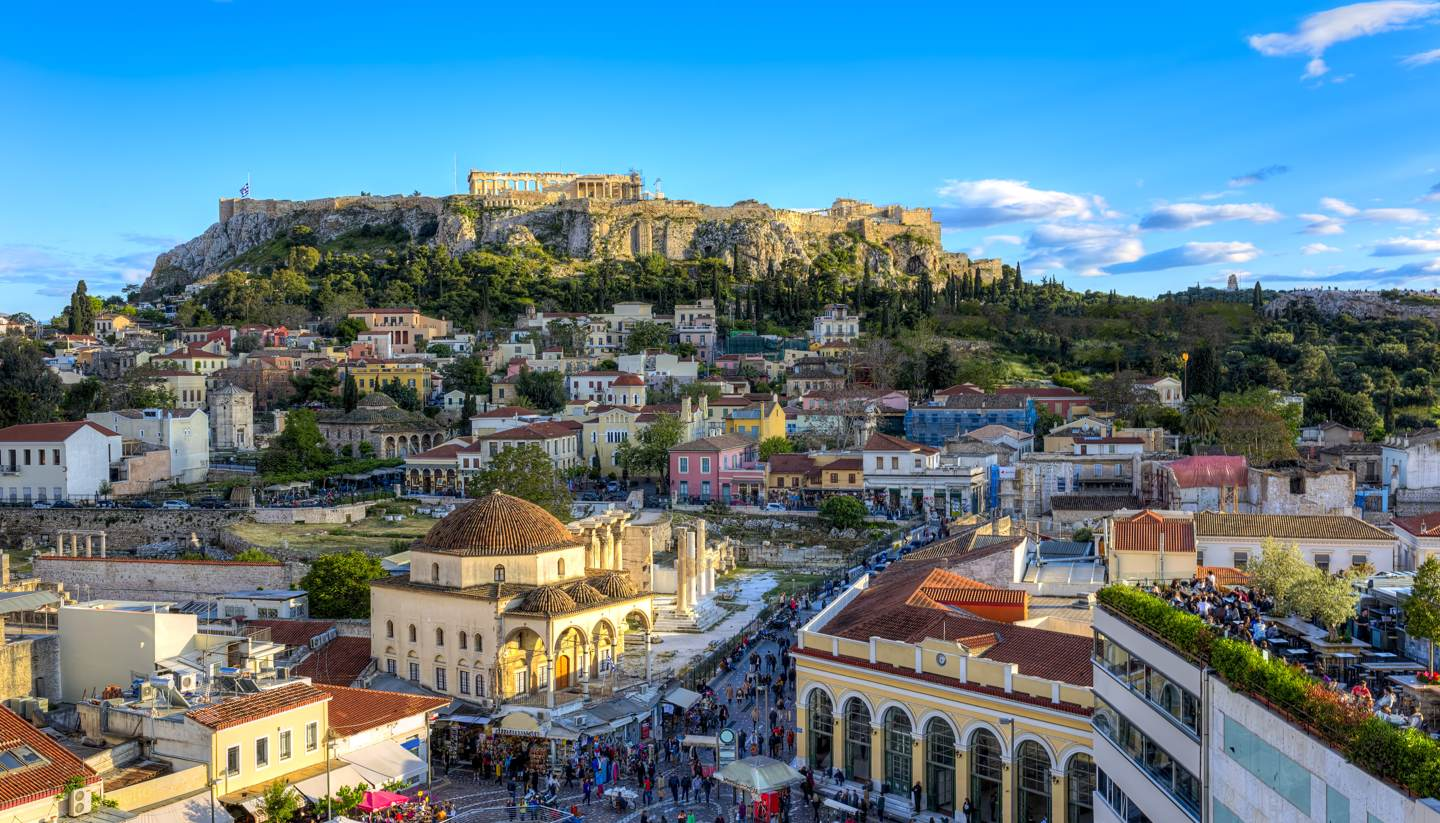 Grecia - Acropolis in Athens with the parthenon in the distance