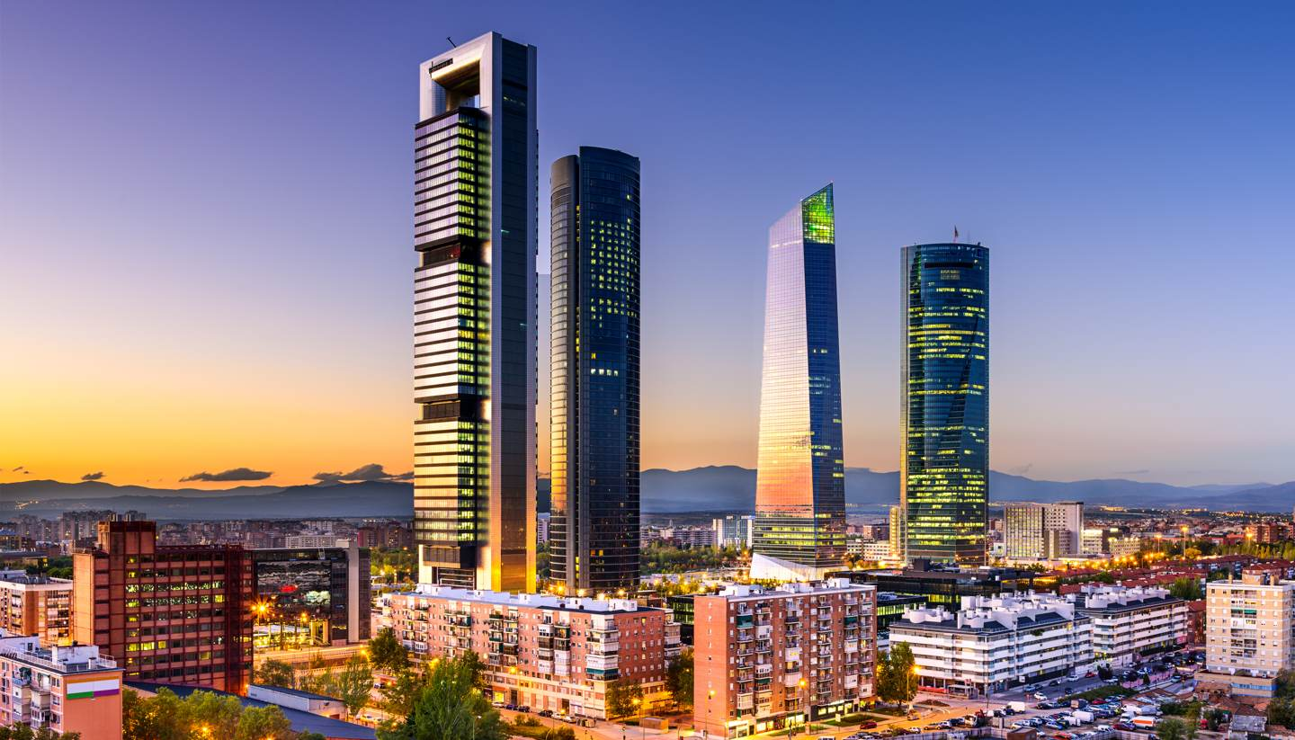 España - Financial district in Madrid at twilight