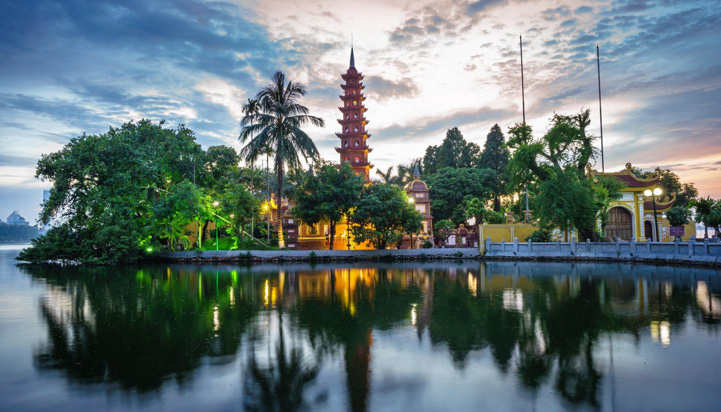 Vietnam - Panorama view of Tran Quoc pagoda, the oldest temple in Hanoi